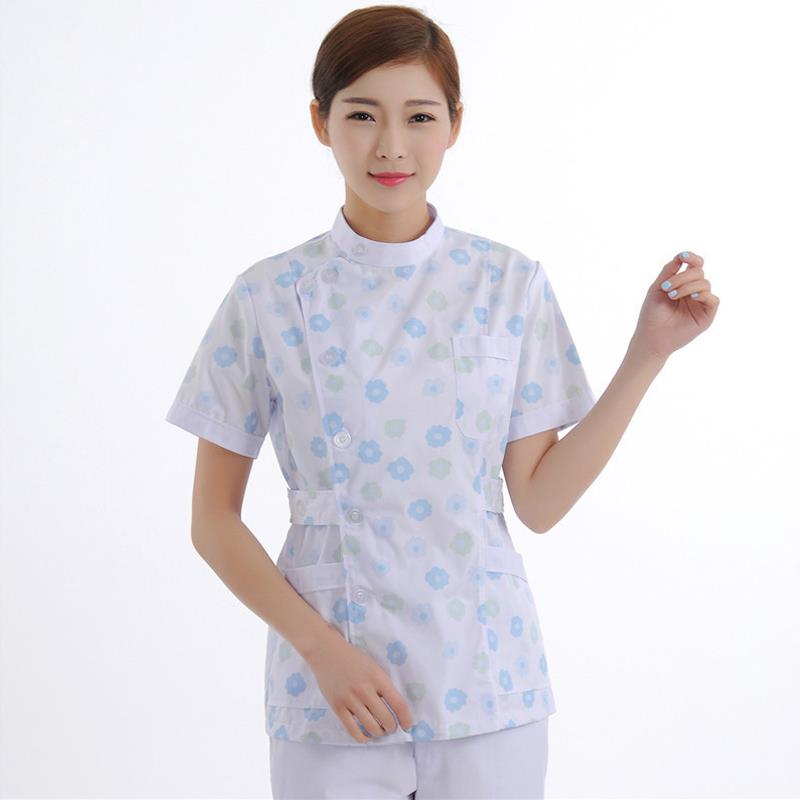 2020 Plus Size Floral Print Medical Scrubs Tops Nursing Uniform Medical Clothing Dental Clinic Nursing Scrubs Women Hair Dresser