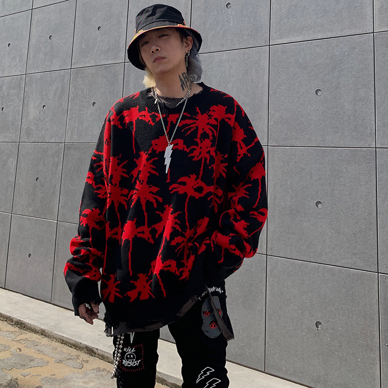 2019 Winter Ripped Destroyed Sweater Red Print Knittwear Sweater Men Women Knitted Pullovers Men Loose Sweather MG449