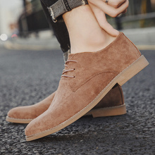 цена на Men Casual shoes breathable Suede Leather Loafers Office Shoes For Men Driving Ponited Toe Comfortable Lace up Fashion Shoe 2019