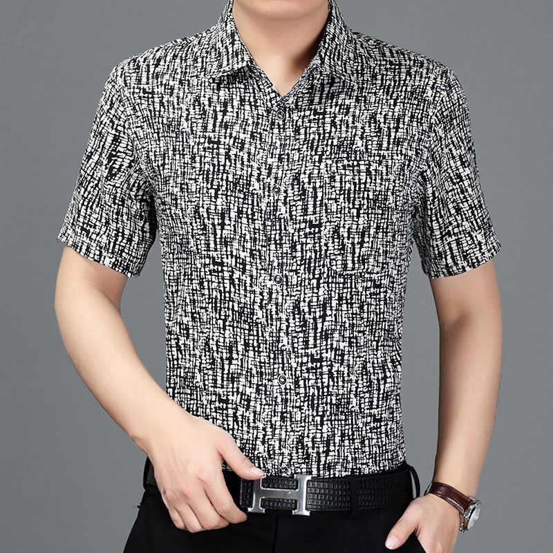 100% Zijde Zomer Shirt Mannen Korte Mouw Heren Shirts Casual Slim Fit Kleding Shirts Man 2020 Camisa Masculina KJ1941