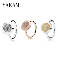 S925 Punk Pave Clear Crystal Round Ring Men Rose Gold Rings for Women Fashion Jewelry Making Engagement Wedding Gift Punk Bijoux luxury heart gold wedding ring set cz pave crystal rings for women fashion jewelry couple love ring men engagement gift o3m039