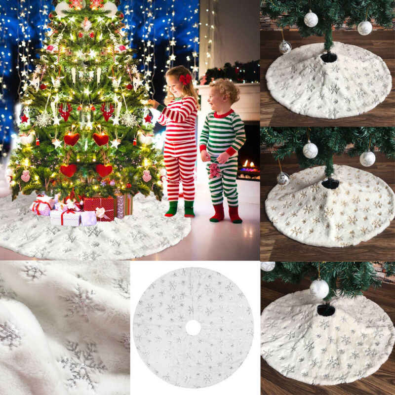2020 HOT Elegant Sequin Embroidery Snow Plush Christmas Tree Skirt Base Floor Mat Cover XMAS Home Party Decor 78-122cm
