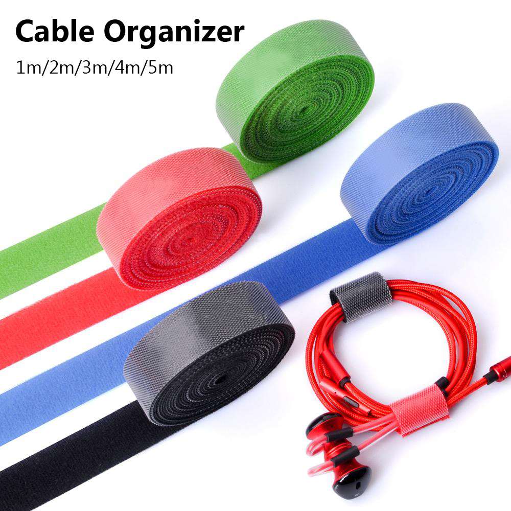 1//3//5M Reusable Fastening Cable Organizer Earphone Mouse Cord Ties Management