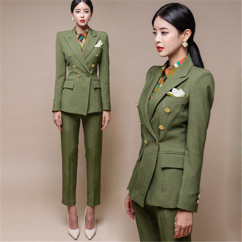 Runway Ladies Autumn Suit Office Work Double Breasted Blazer Trouser Set Fashion Business Pant Suits Women Formal Pantsuit