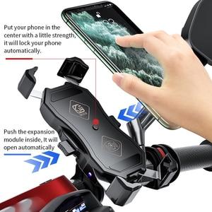 Image 3 - 오토바이 핸드폰 홀더, 15W 무선 스마트 충전, QC3.0 와이어 중전, 2 in 1 반자동 스탠드 360도 회전 브래킷