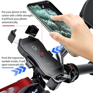 Image 3 - Motorcycle Phone Holder 15W Wireless Smart Charger QC3.0 Wire Charing 2 in 1 Semiautomatic Stand 360 Degree Rotation Bracket