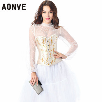 AONVE Sexy Steampunk Corset Lady Lingerie Wedding Gothic Style Corset Top Sexy Party White Long Sleeve 2020 New Plus Size XXL