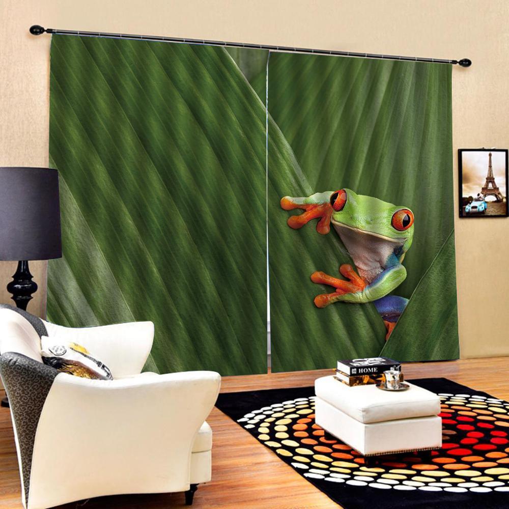 green curtains leaf curtain 3D Window Curtain Dinosaur print Luxury Blackout For Living Room  Blackout curtain