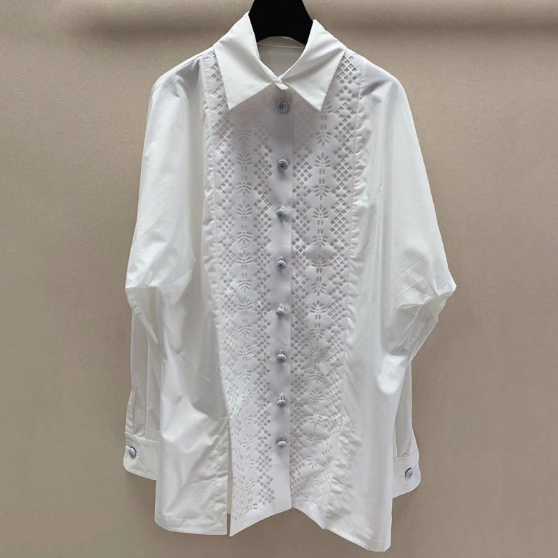 Femmes blanc Blouses hauts élégant automne travail lâche coton Blouses chemises bureau dame à manches longues Blouse