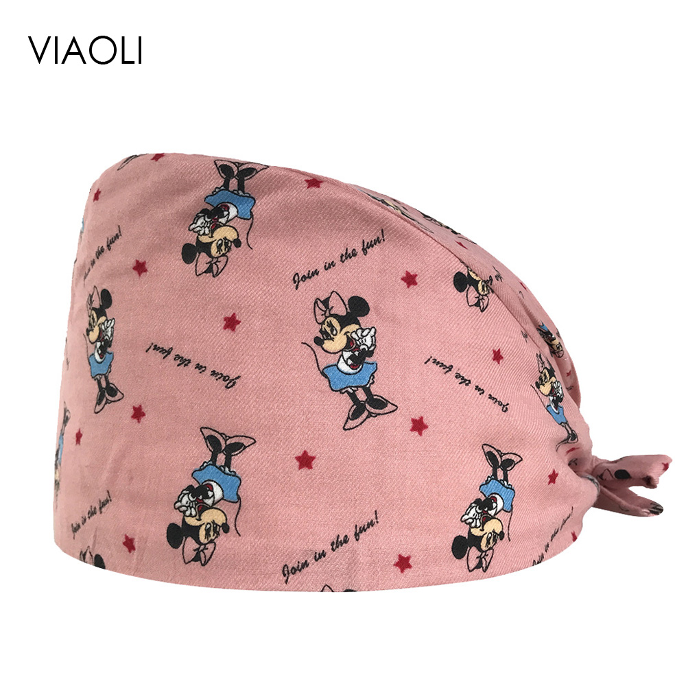 Operating Room Hat Scrub Adjustable Strap Men And Women Doctor Nurse Surgical Caps Beauty Salon Dental Printing Cotton Care Caps