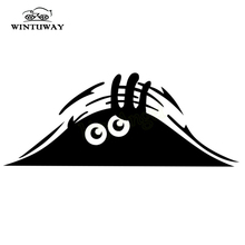 WINTUWAY Car Stickers Funny Creative 3D Big Eyes Car Decal Black Sticker Peeking Monster 20x8CM Auto Products Car Accessories