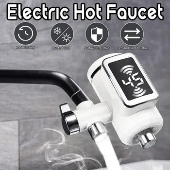 Electric Hot Faucet Water Heater Kitchen Cold Heating Faucet Tankless Digital Instantaneous hot and cold Water Tap with Adapter bdp3000w 4 earth leakage protection plug digital display tankless electric faucet kitchen faucet water heater