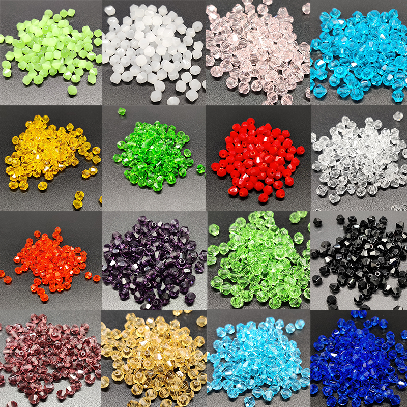 4mm Czech Loose Bicone Crystal Beads For Jewelry Making Diy Needlework Spacer Faceted Glass Beads 100pcs Wholesale Lots Bulk