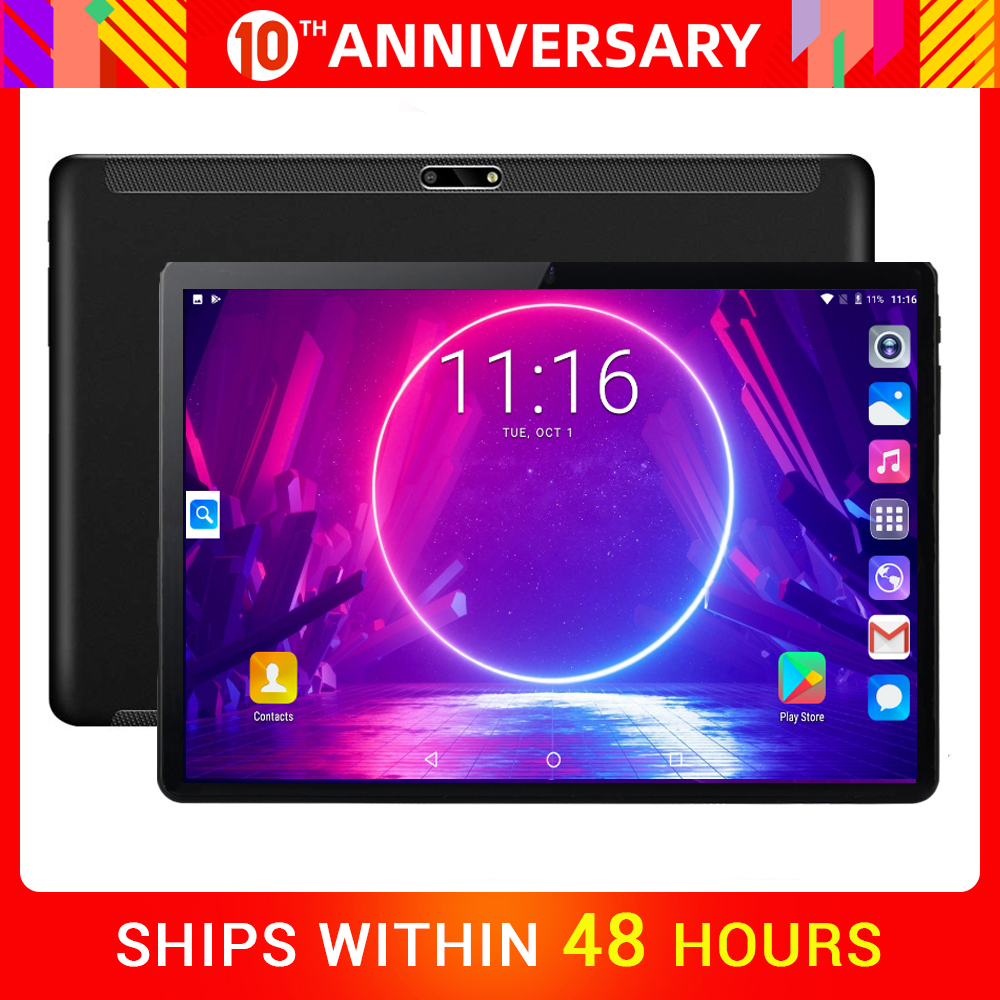 Newest 10 Inch Tablets 2.5D Tempered Glass 3G Phone Call Android 7.0 Quad Core 2GB RAM 32GB ROM 8.0MP IPS Wi-Fi Cards Tablets PC