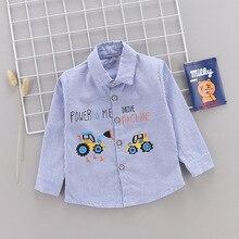 Весенне-осенняя одежда в Корейском стиле для маленьких мальчиков, тонкая цельнокроеная рубашка в полоску с буквенным принтом «экскаватор» Топы Fa