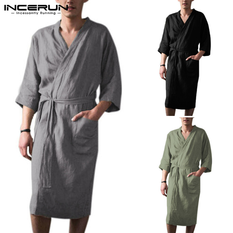Men Robes Sleepwear Vintage Cotton V Neck Pockets Solid 2020 Homewear Nightgown 3/4 Sleeve Lacing Kimono Men Bathrobes INCERUN