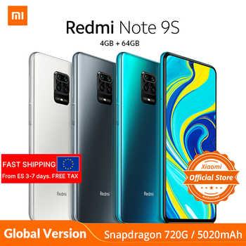 Xiaomi Redmi not 9S not 9 S 4GB 64GB küresel sürüm smartphone Snapdragon 720G cep telefonu octa çekirdek 5020mAh 48MP dörtlü kamera