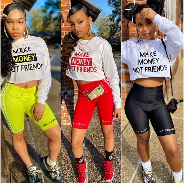 Echoine Women Sexy letter Print Two Piece Set Long sleeve T-shirt Shorts Suit Jogger Tracksuit Matching Party Outfit Streetwear 1