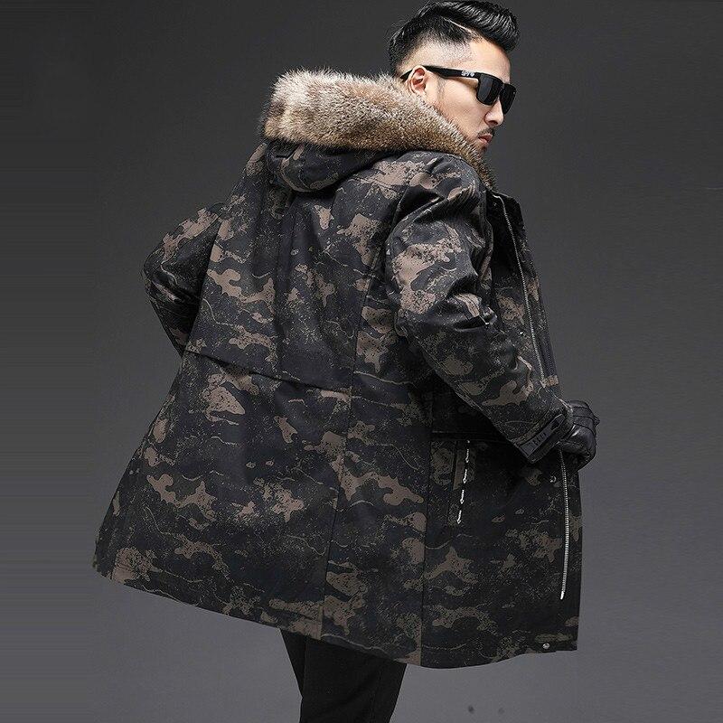 2020 Winter Jacket Men Real Fur Coat Parka Raccoon Fur Jackets Hooded Warm Rabbit Fur Coats Parkas De Hombre 19-2001