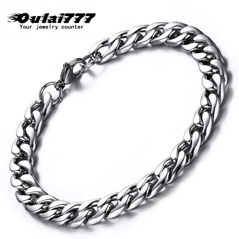 oulai777 chain on hand for Wholesale stainless steel mens bracelet 2019 cuban link bracelet men accessories fasion jewellery