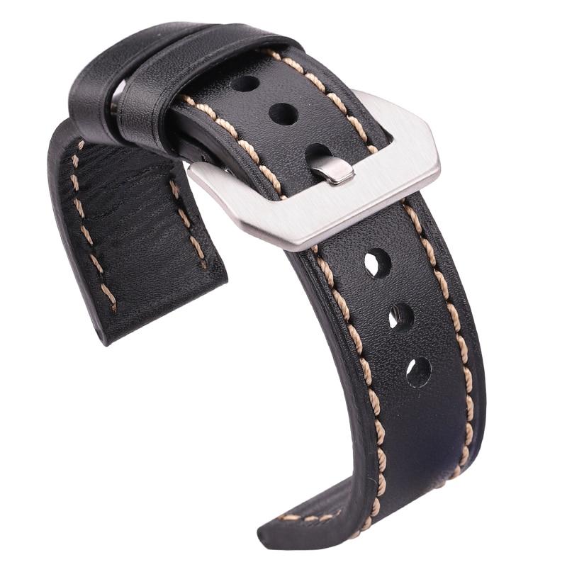 High Quality Genuine Leather Watchband Bracelet 20mm 22mm 24mm Black Brown Handmade Watch Band Strap Women Men Watch Accessories