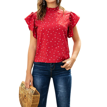 Vintage Polka Dot Blouse Women Summer Butterfly Short Sleeve Ladies Tops Casual Round Neck Blouses Shirts Blusas Mujer D30 butterfly printed blouse shirts women sexy v neck ladies tops summer off shoulder sleeveless blouses casual blusas femme d30
