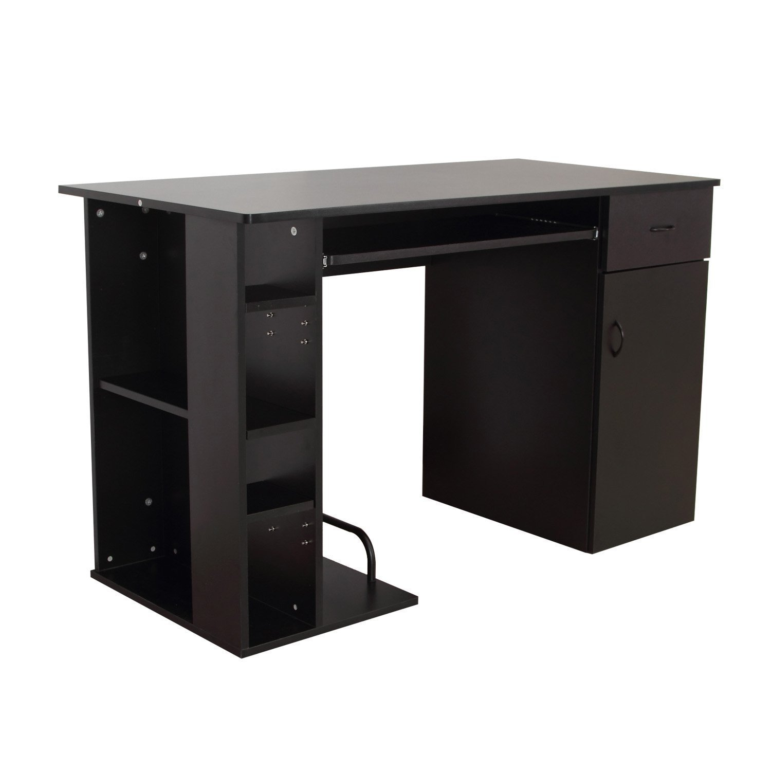 HOMCOM Desk Computer Pc Holder With Shelf Office 74x120x60 Cm Black Keyboard