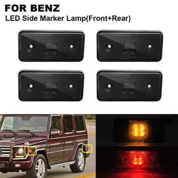 4PCS LED Side Marker Turn Signal Light For BENZ W463 02-14 2PCS x Amber Front Smoked 2PCS x Red Rear Smoked Side Indicator Light