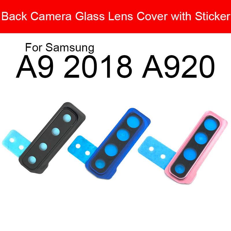 Back Rear Camera Lens With Sticker For Samsung Galaxy A9 2018 SM-A920F A920 Camera Glass Cover Frame Replacement Repair Parts