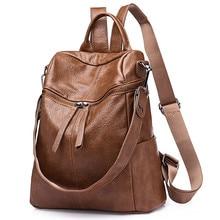 2019 Casual Backpacks Women Bagpack for Teenage Girls Vintage Leather Anti Theft School Back Pack Lady Shoulder Travel Bookbag
