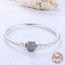 100% 925 Solid Silver Charm Bracelets for Women Chain Round Bracelet Bangle Wedding Fashion DIY Making Jewelry ZY2