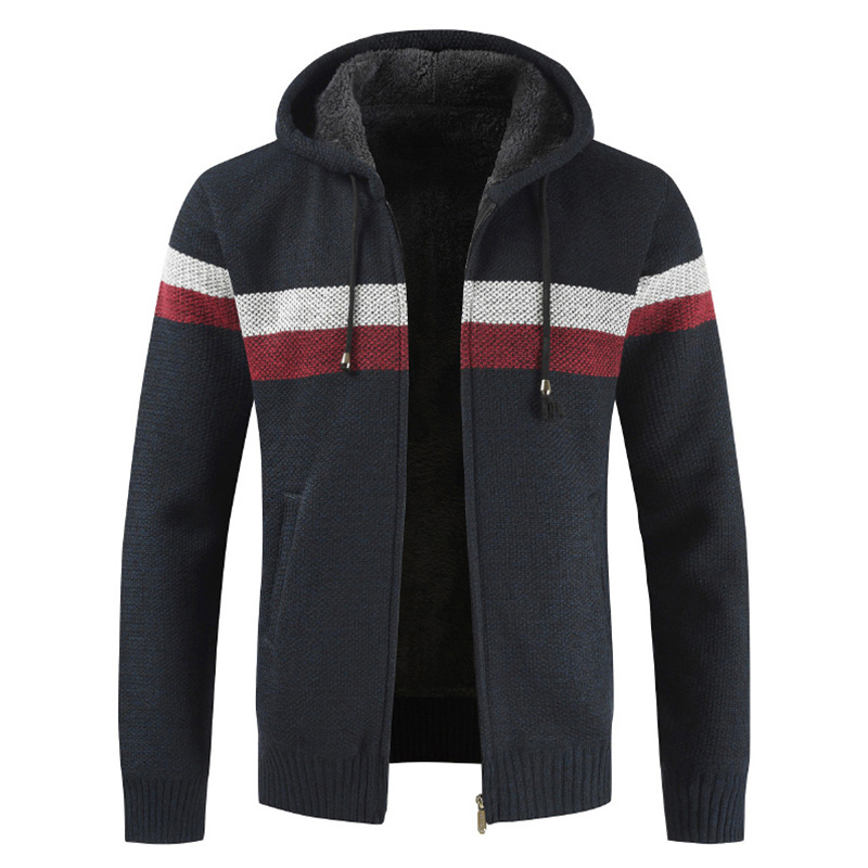 WENYUJH Fashion Sweater Coat Men Thick Warm Hooded Cardigan Men Striped Long Sleeved Zipper Fleece Coats Men 2019 New Winter