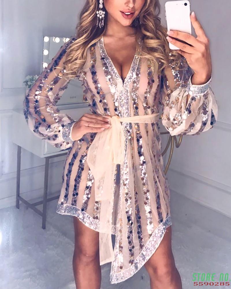 Glitter Plunge Sequins Sheer Mesh Lantern Sleeve Dress Women Sexy Deep V Neck Mini Party Club Dress