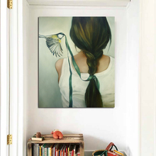 Abstract Pictures Bird Pecking Woman's Head Rope Wall Art Canvas Painting For Home Decoration