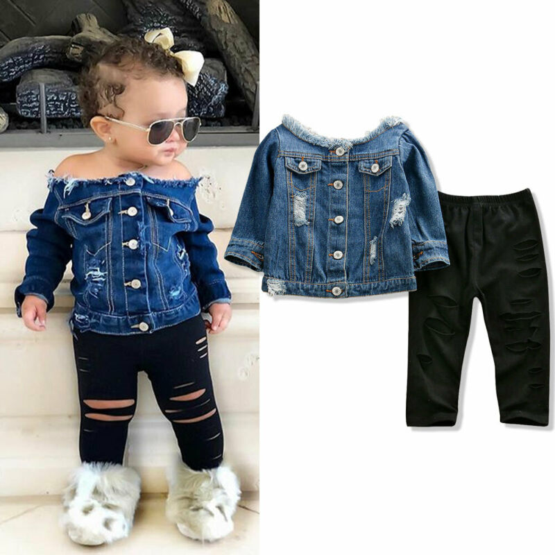 Pudcoco US Stock 1-6 Years Toddler Kid Baby Girls Denim Jacket Autumn Clothing Set Off Shoulder Tops + Pants Autumn Clothes Set