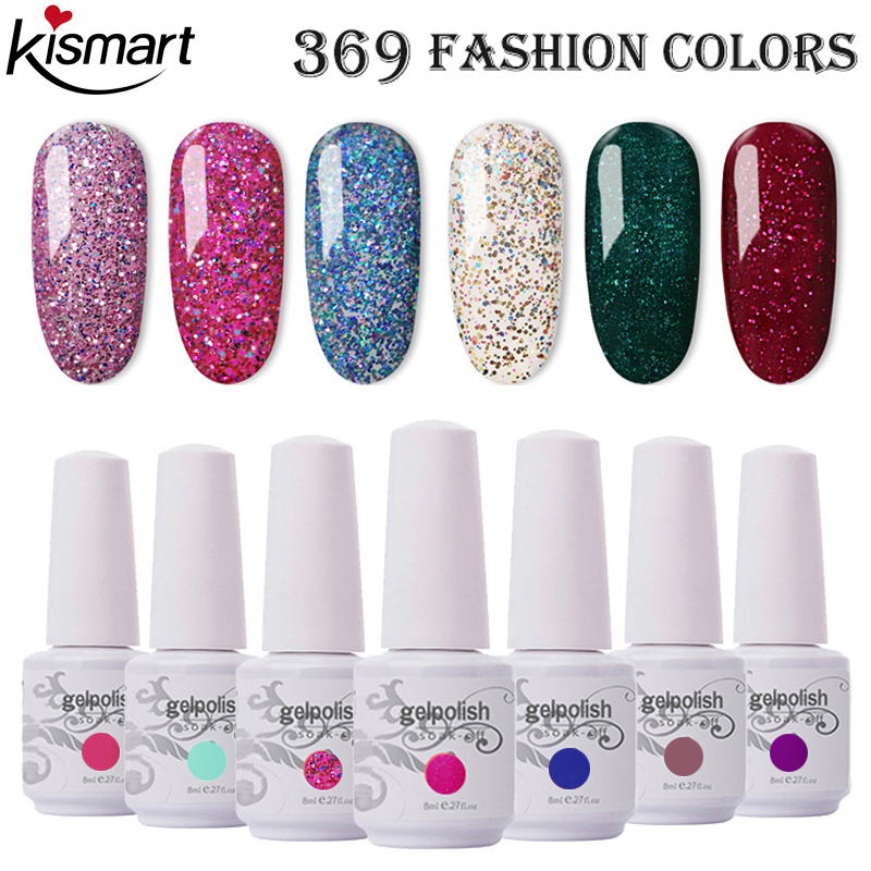 Kismart 8ml Bottle Nail Gel Gelpolish UV/LED Nail Gel Polish Soak Off Gel Nail Polish Lacquer Base Top Coat Nail Art Varnish