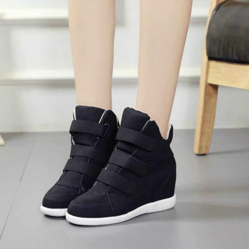 Mode Platte Hoge Hakken Wiggen Lederen Schoenen Vrouwen Mode Sneakers Merk Casual Schoenen Vrouw Zwarte Winter Enkellaarsjes