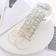 12 Pair/set Hyperbole Punk Big Circle Earrings For Women Silver Gold Metal Oversize Round Hoop Earring Fashion Party Jewelry pair of punk rivet studded hoop earrings