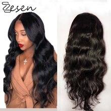 Zesen longo ondulado peruca sintética t parte perucas de cabelo para as mulheres cosplay festa natural marrom escuro alta densidade resistente ao calor