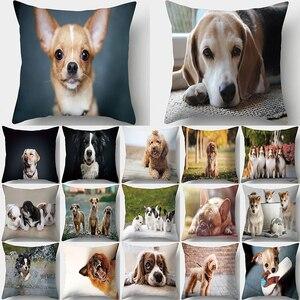 Мопс с принтом собаки, Декоративная Подушка Наволочка Чехол для подушки из полиэстера, подушка для дивана, украшение для гостиной, наволочк...
