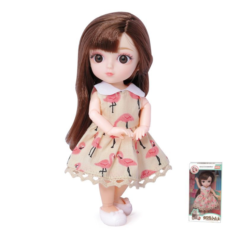 16cm/31cm Bjd Doll 12 Moveable Joints 1/12 Girls Dress 3D Eyes Toy with Clothes Shoes Kids Toys for Girls Children Birthday Gift 9