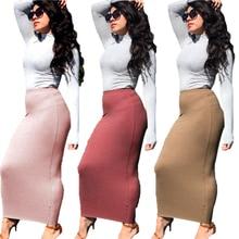 Skirt Muslim Fashion Pencil Sheath Streetwear Knitting Office Chic Bodycon Autumn Winter