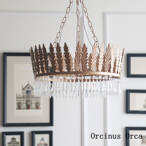 American Luxury Golden Crown Chandelier Girl Bedroom Princess Room Lamp Classical Iron Creative Crystal Chandelier