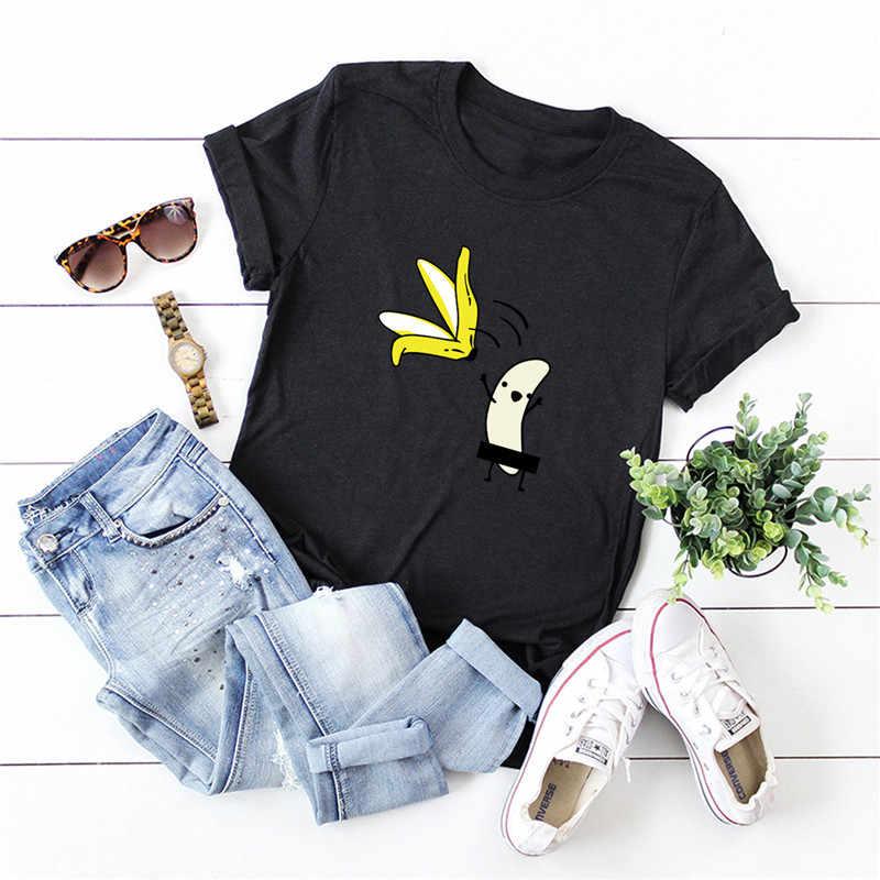 Plus Size S-5XL Nieuwe Banana Print T-shirt Vrouwen 100% Katoen O Hals Korte Mouwen Zomer T-shirt Tops T Shirts grappige T-shirts Vrouwelijke