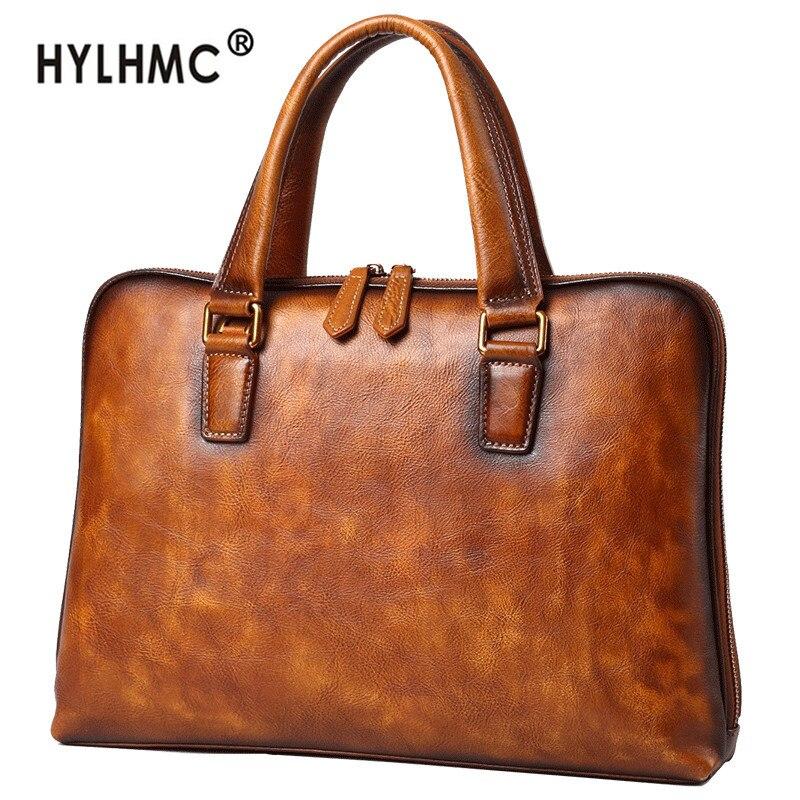 Handbag leather men's bag leather bag casual business briefcase computer bag European and American shoulder messenger bag tide