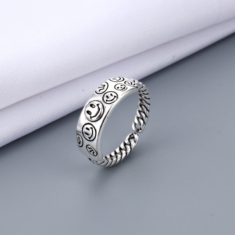 2021 Vintage Ancient Silver Color Happy Smiling Face Open Rings for Women Men Unisex Hip Hop Adjustable Ring Fashion Jewelry