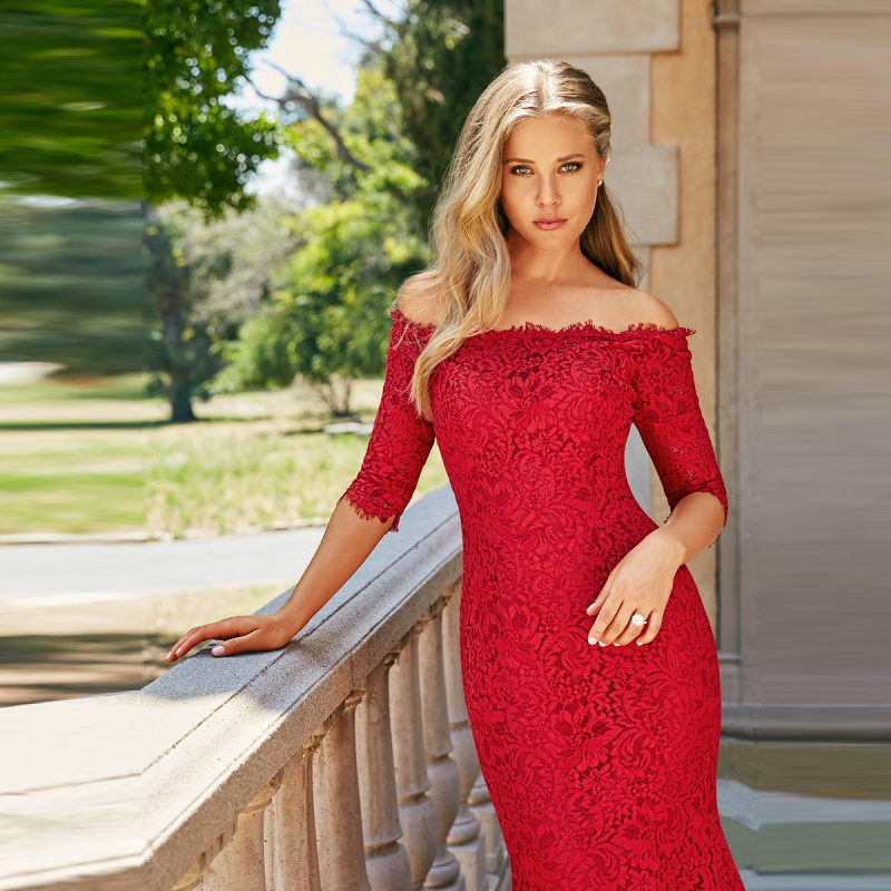 Unique Charming Red Mermaid Lace Bride Wedding Dresses with Off Shoulder 3/4 Sleeves Bateau Neck Bridal Gowns Court Train 2020