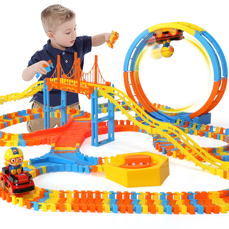 The New Children's Puzzle Creative Diy Assemble Cartoon Penguin Climbing Subway Toy Magical Racing Track  Suit Toy