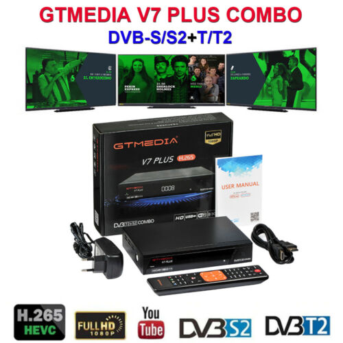 GTMEDIA V7 PLUS DVB-S2 DVB-T2 Satellite Receiver Spain 5 Line For 1 Year Czech Republic Free Tv Receptor Cccam With WIFI Antenna