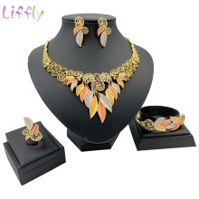 Bohemian Jewelry Sets Beautiful Two-Color Leaf Large V-neck African Nigerian Female Wedding Necklace Earrings Ring Bracelet